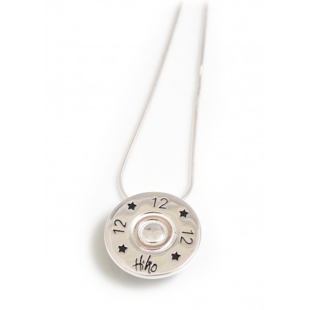 Exclusive Sterling Silver And 18ct Rose Gold Plated 12 Bore Shotgun Cartridge Pendant With Silver Snake Chain