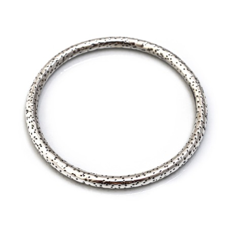 Sterling Silver Leopard Print Bangle