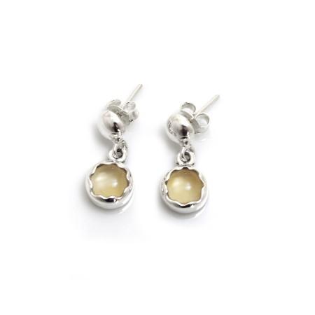 November Birthstone - Sterling Silver & Citrine Dangly Earrings