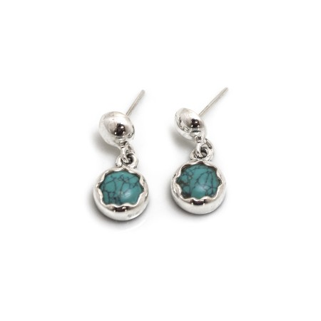 December Birthstone - Sterling Silver & Turquoise Dangly Earrings