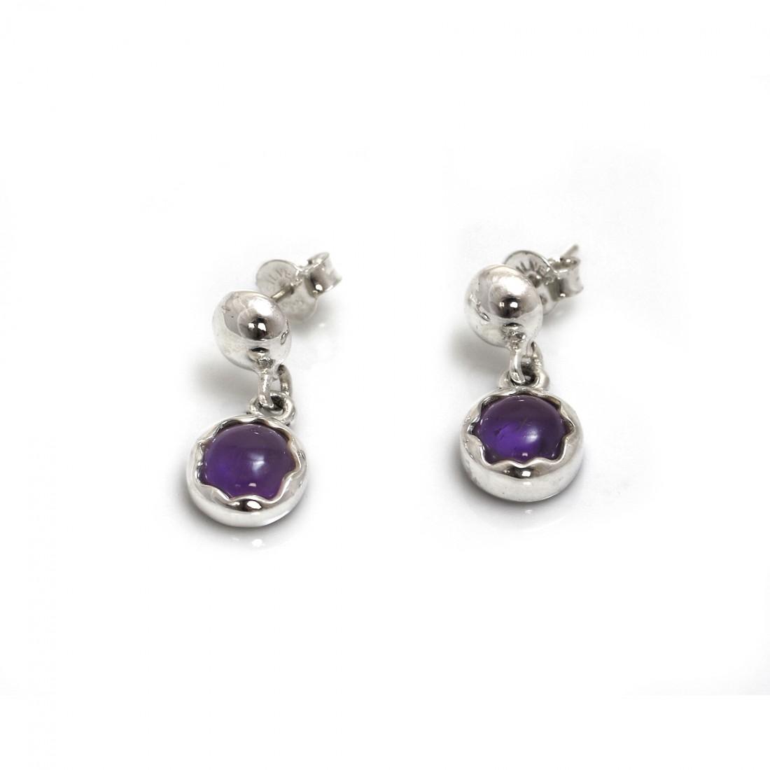 February Birthstone - Sterling Silver & Amethyst Dangly Earrings