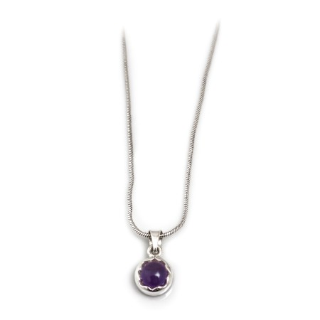 February Birthstone - Sterling Silver & Amethyst Necklace