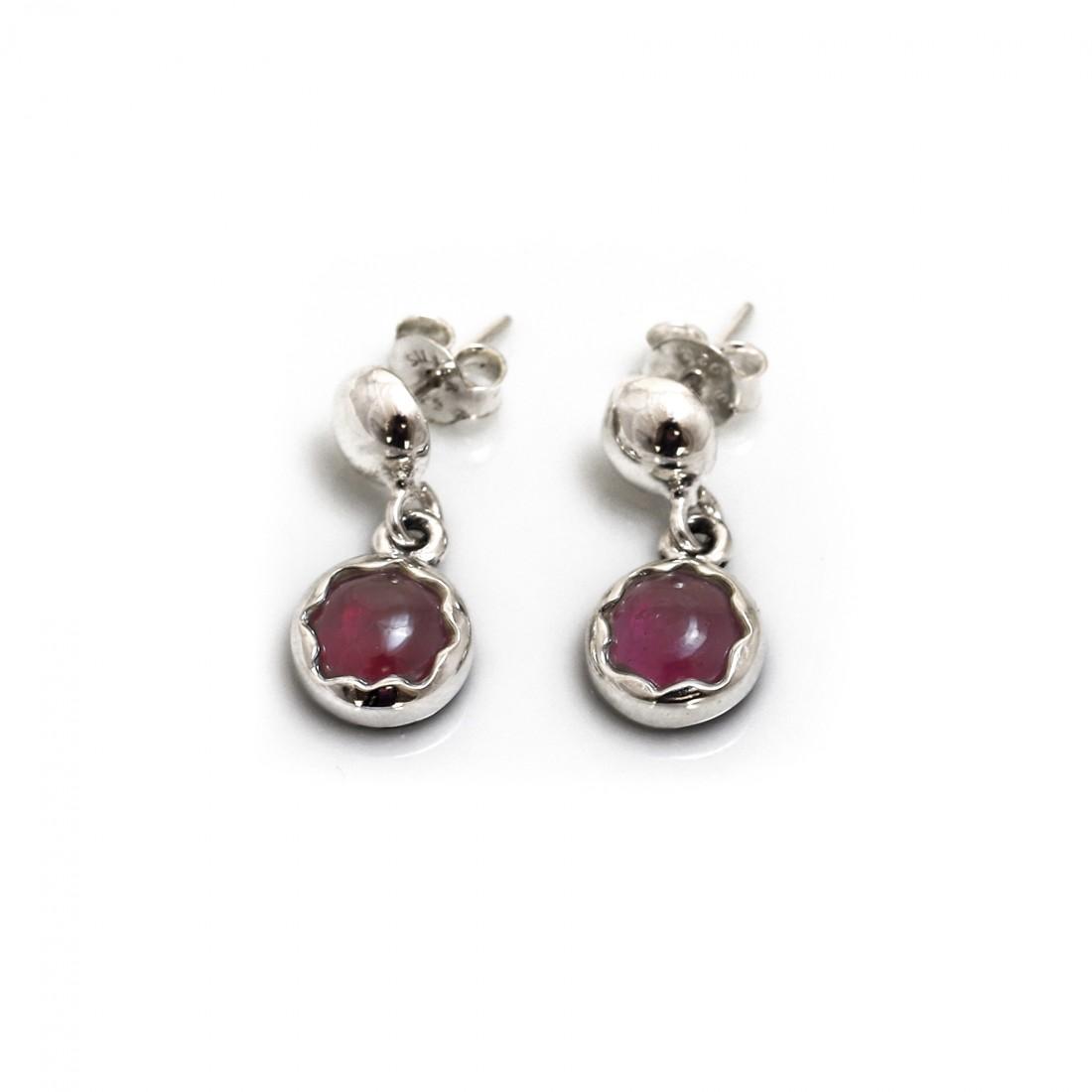 January Birthstone - Sterling Silver & Garnet Dangly Earrings