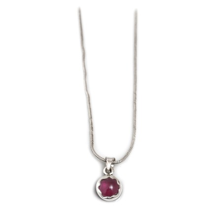January Birthstone - Sterling Silver & Garnet Necklace