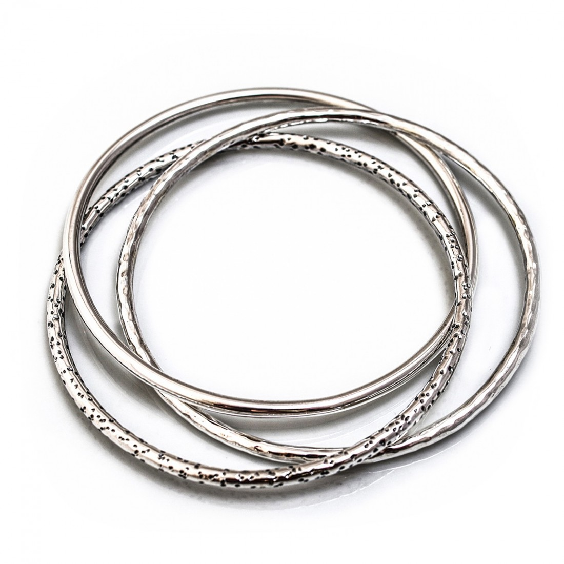 Sterling Silver Hammered, Plain & Leopard Print Russian Bangle