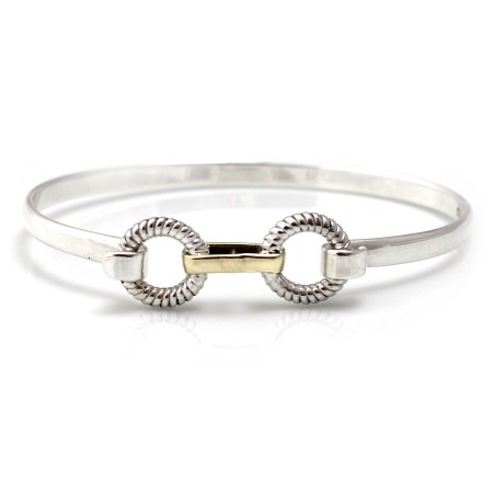 Exclusive Sterling Silver & Two Tone Rope Circle Bangle