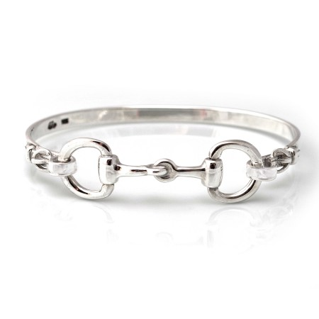 Exclusive Sterling Silver Detailed Double Snaffle Bangle