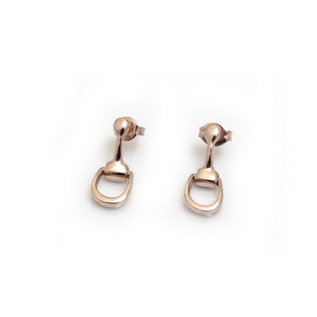 Sterling Silver & 18ct Rose Gold Plated Snaffle Earrings