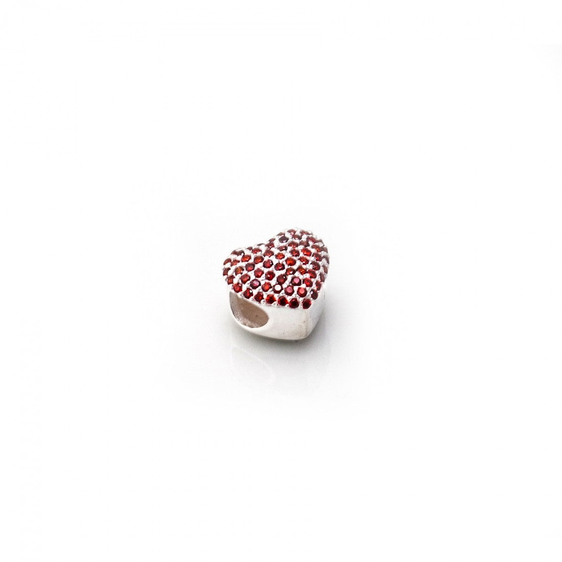Exclusive Sterling Silver & Red CZ Heart Shaped Roller Charm Bead