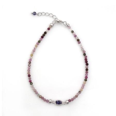 Sterling Silver Iolite & Multi Tourmaline Beaded Bracelet