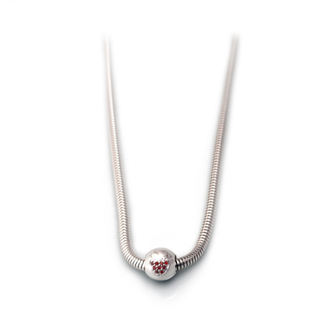 Exclusive Sterling Silver Necklace With Roller Charm Bead With Red Cubic Zirconia Heart