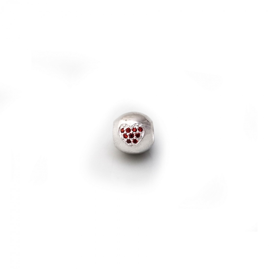 Exclusive Sterling Silver Roller Charm Bead With Red CZ Heart
