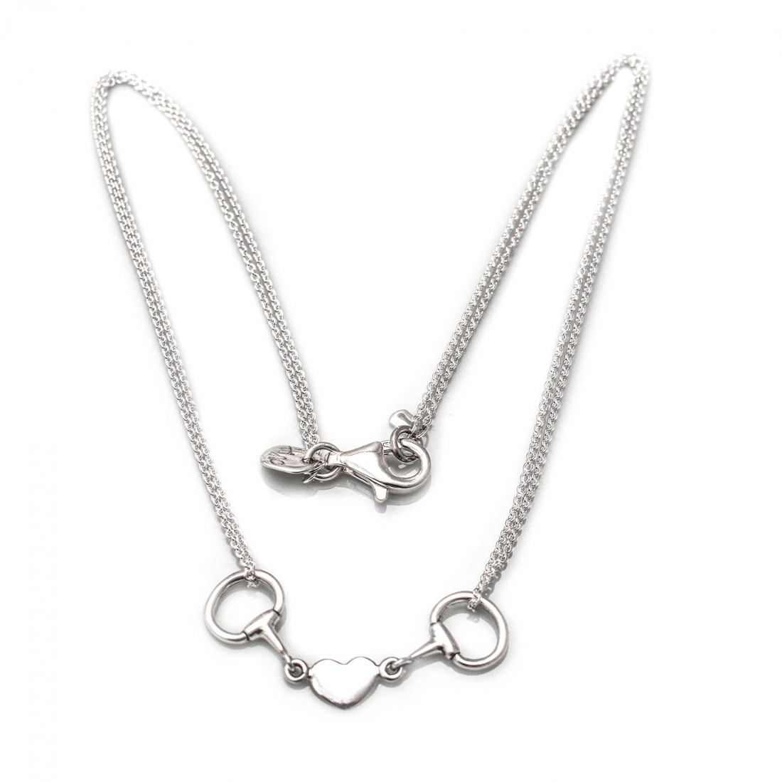 Exclusive Sterling Silver Double Chained Snaffle Heart Necklace