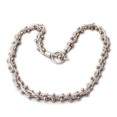 Sterling Silver & Two Tone Bobbly Necklace