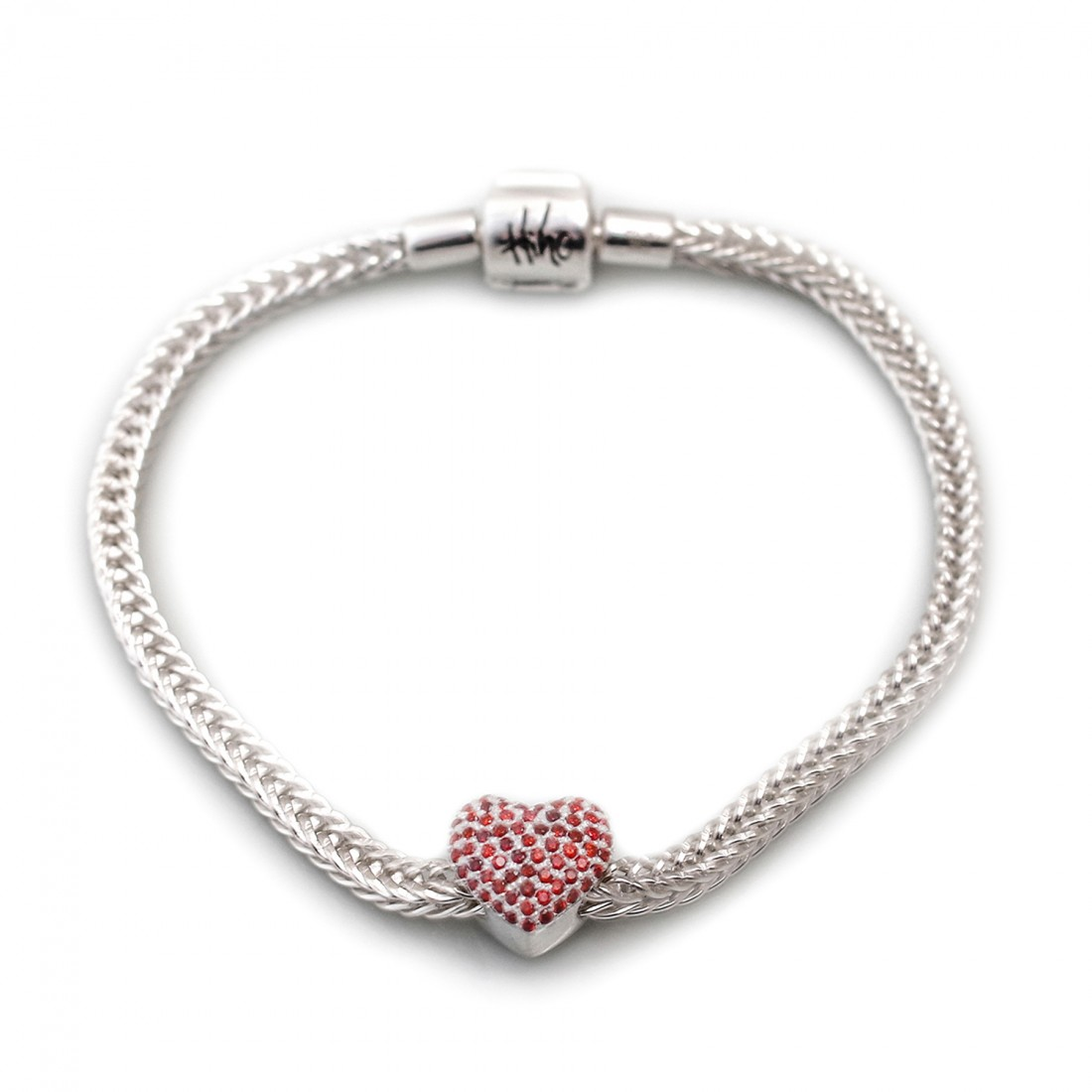 Exclusive Sterling Silver Foxtail Bracelet With Love Heart Roller Charm Bead