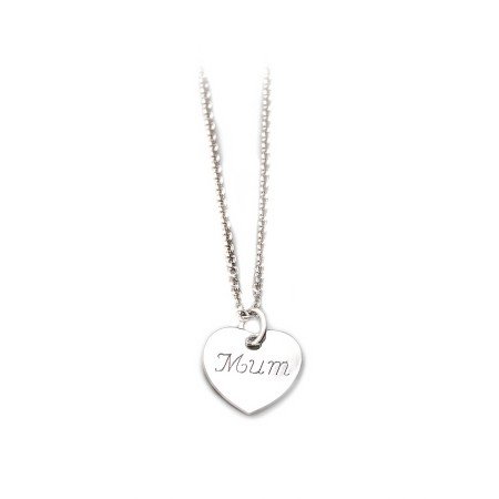 Sterling Silver Mum Heart Pendant With Chain