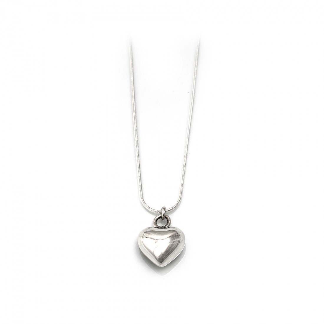 Sterling Silver 3d Heart Pendant With Snake Chain