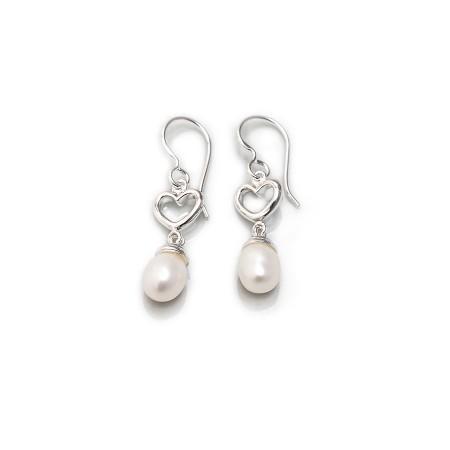 Sterling Silver Freshwater Pearl & Heart Dangly Earrings