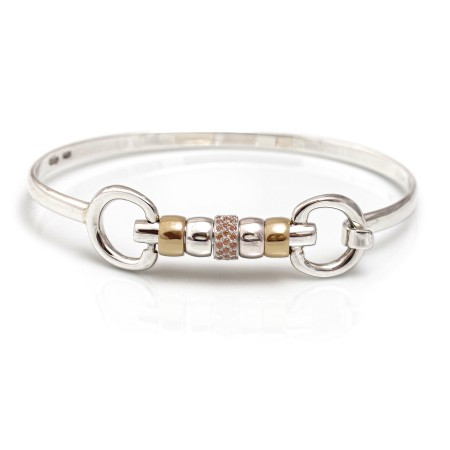 Exclusive Sterling Silver & 18ct Gold Plate Cherry Roller Snaffle Bangle With Champagne CZ Starlight Roller Bead