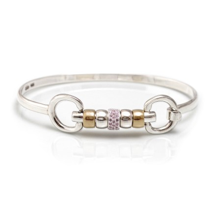 Exclusive Sterling Silver & 18ct Gold Plate Cherry Roller Snaffle Bangle With Pink CZ Starlight