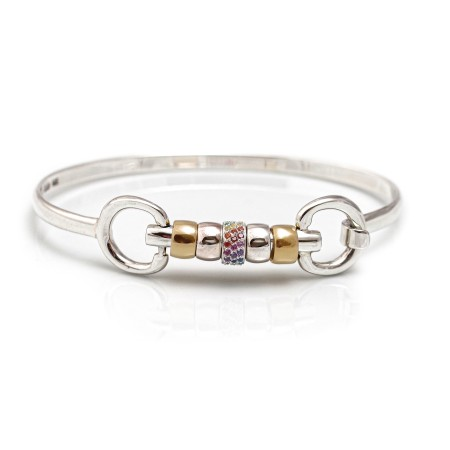 Exclusive Sterling Silver & 18ct Gold Plate Cherry Roller Snaffle Bangle With Rainbow CZ Starlight Roller Bead