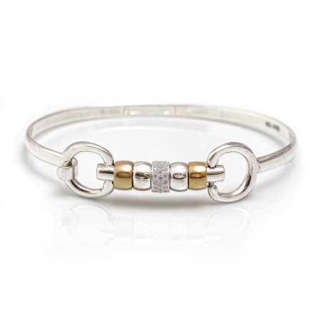 Exclusive Sterling Silver & 18ct Gold Plate Cherry Roller Snaffle Bangle With CZ Starlight Roller Bead