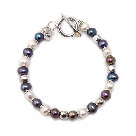 Exclusive Freshwater Multi Pearl & Sterling Silver Nuggets Bracelet