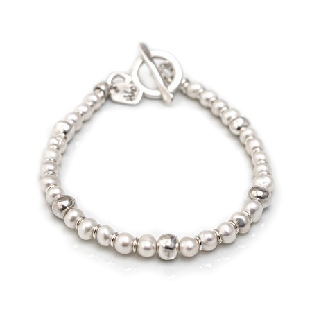 Exclusive Freshwater Pearls And Sterling Silver Nuggets Bracelet