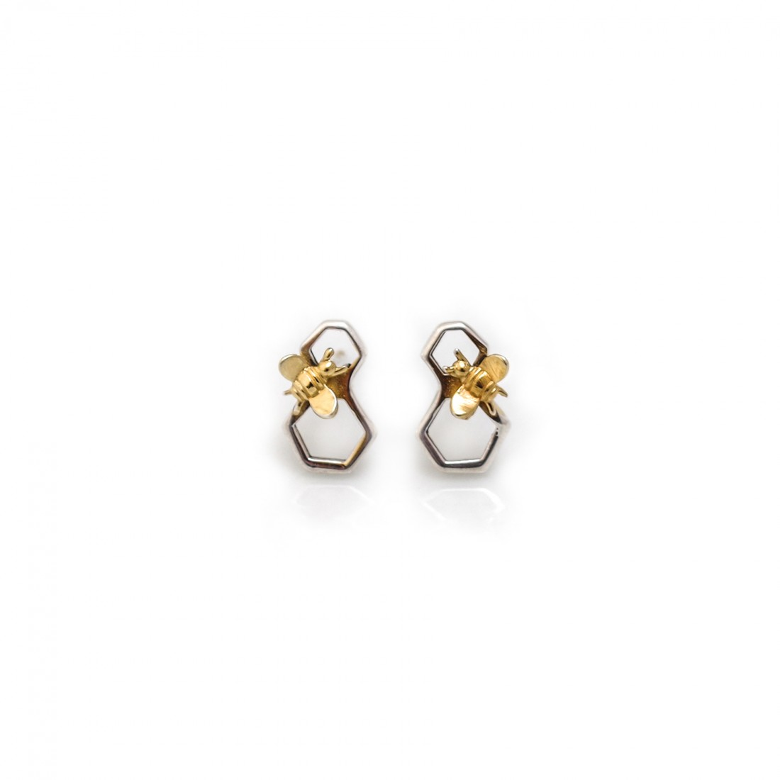 Sterling Silver & 18ct Gold Plated Honeycomb Bee Stud Earrings