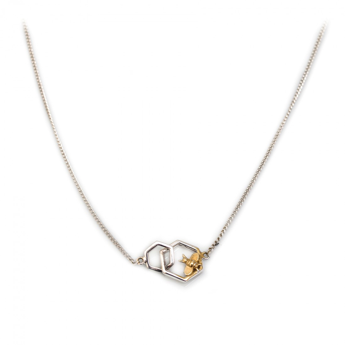 Sterling Silver & 18ct Gold Plated Honeycomb Bee Necklace