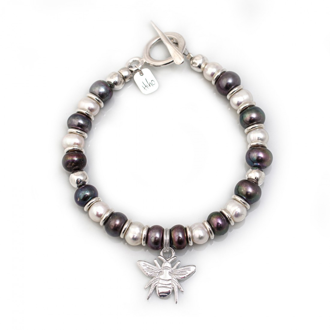 Exclusive Sterling Silver & Freshwater Pearl Bracelet With Bee Charm