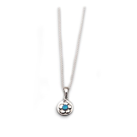 Sterling Silver & Blue Opal Flower Pendant With Silver Rolo Chain