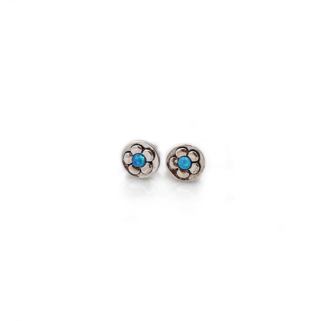 Sterling Silver & Blue Opal Flower Stud Earrings