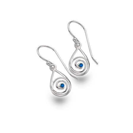 Sterling Silver & Blue Opal Swirl Dangly Earrings