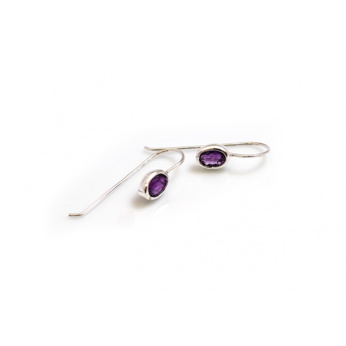 Sterling Silver Amethyst Dangly Earrings