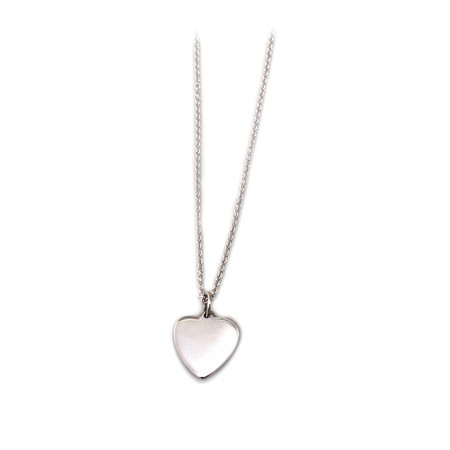 Sterling Silver Flat Heart Pendant With Silver Chain