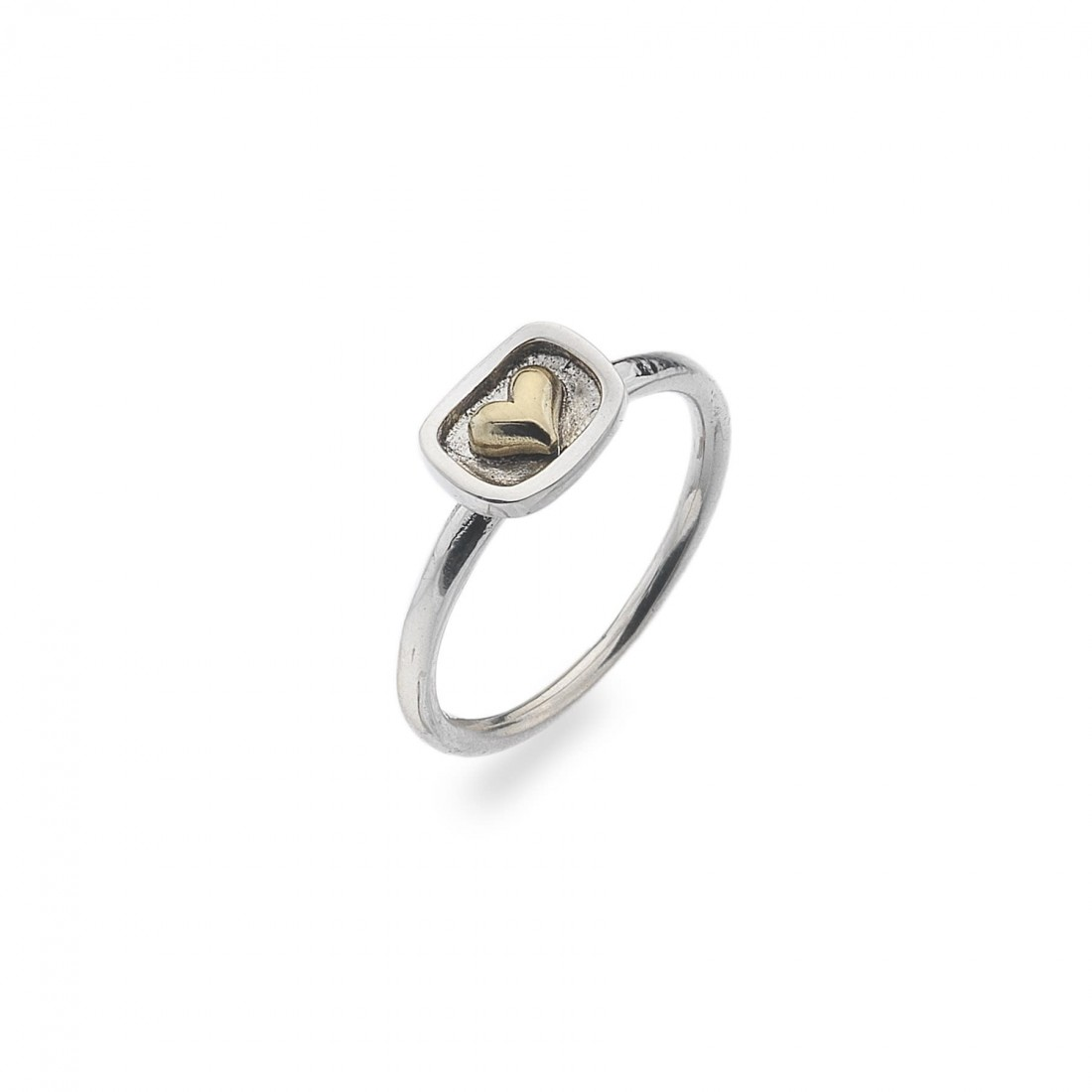 Sterling Silver & Two Tone Heart Ring