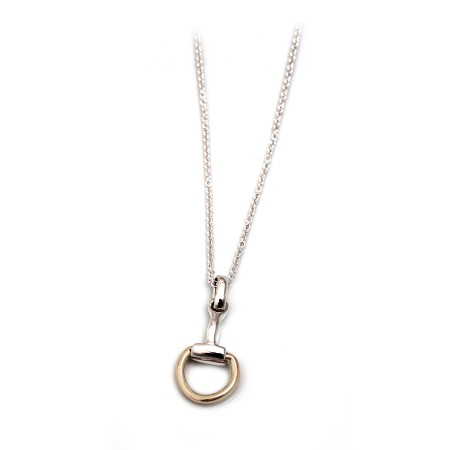Sterling Silver & Two Tone Snaffle Pendant on Fine Trace Chain