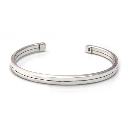 Mens Double Strand Sterling Silver Cuff Bracelet