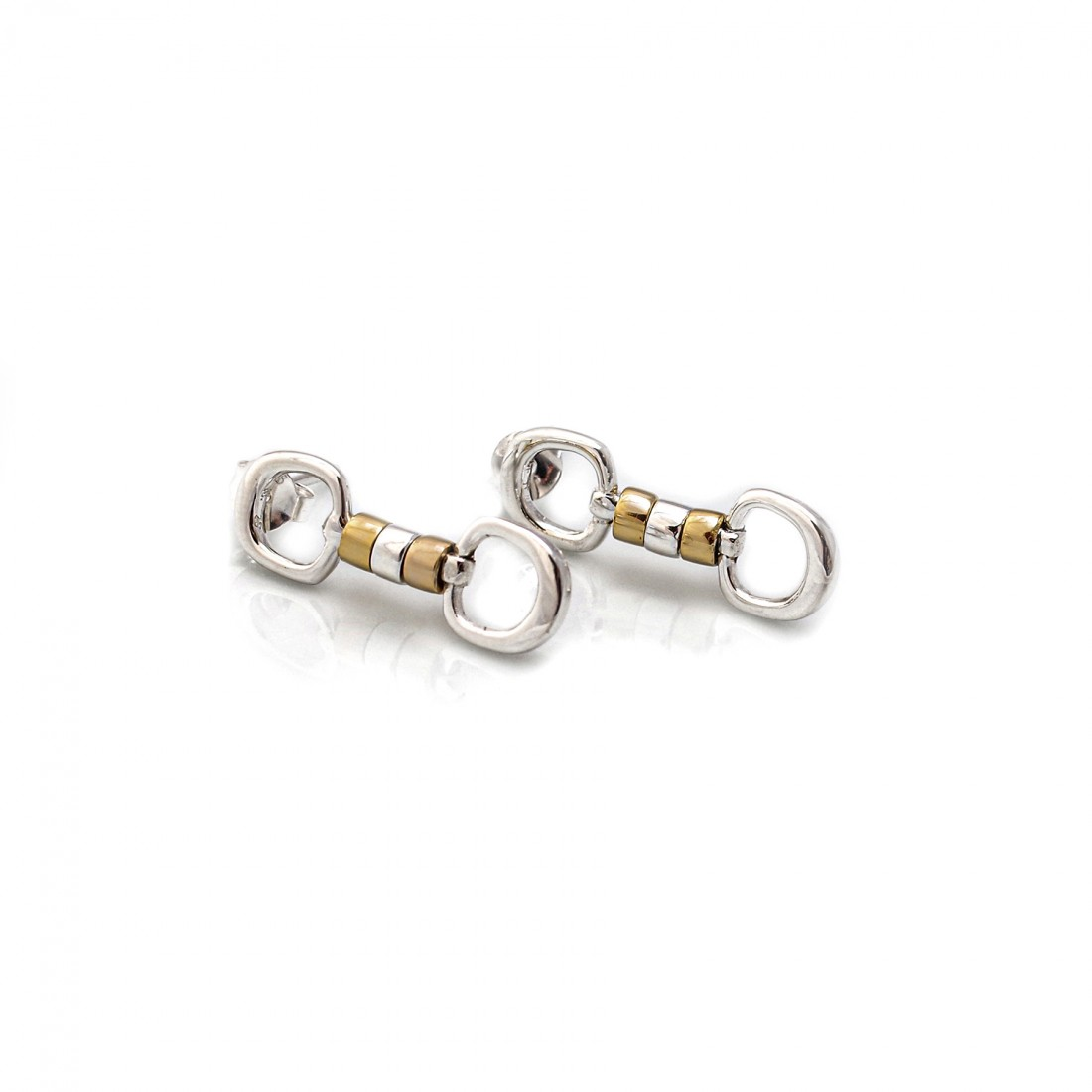 Exclusive Sterling Silver & 18ct Gold Plate Cherry Roller Snaffle Earrings