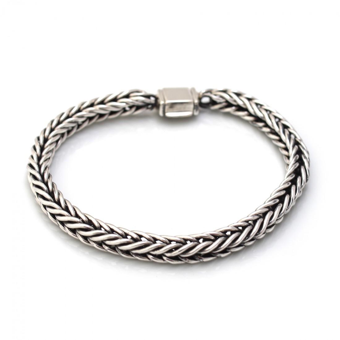 Sterling Silver Oxidised Rope Bracelet