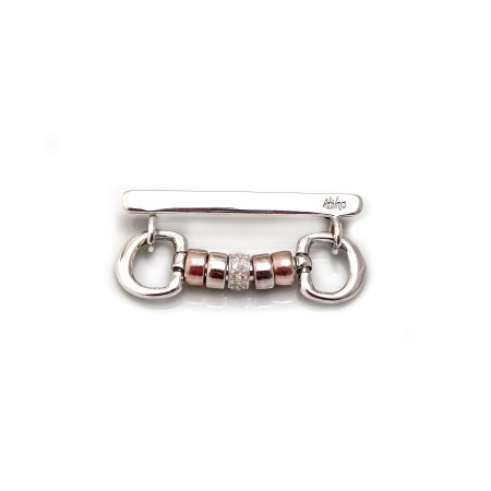 Exclusive Sterling Silver, CZ & Rose Gold Plated Engravable Cherry Roller Stock Pin