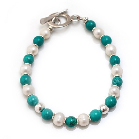 Exclusive Turquoise, Freshwater Pearls and Silver Nuggets Bracelet