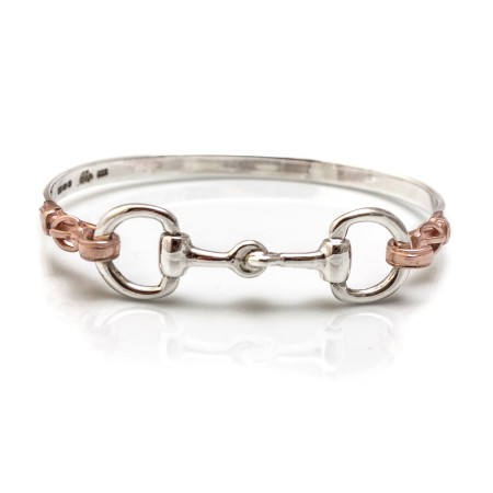 Exclusive Sterling Silver & 18ct Rose Gold Plated Detailed Double Snaffle Bangle
