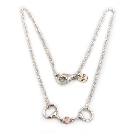 Exclusive Sterling Silver &  18ct Rose Gold Plated French Link Snaffle Necklace