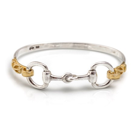 Exclusive Sterling Silver & Yellow Gold Plated Detailed Double Snaffle Bangle