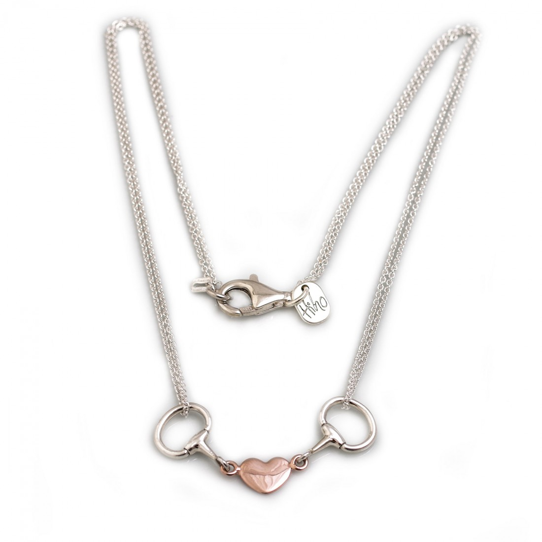 Exclusive Sterling Silver & 18ct Rose Gold Plated Double Chained Snaffle Heart Necklace