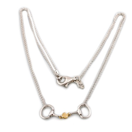 Exclusive Sterling Silver & 18ct Gold Plated French Link Snaffle Necklace