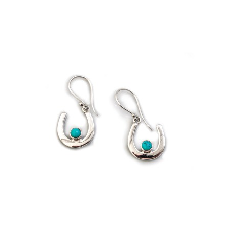 Sterling Silver & Turquoise Horseshoe Dangly Earrings