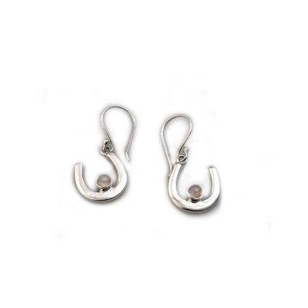 Sterling Silver & Moonstone Horseshoe Dangly Earrings